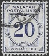 Malayan Postal Union 1951 SG D21a Post Due Fine Used