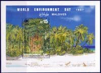 Maldive Islands 1987 Trees Miniature Sheet Fine Mint