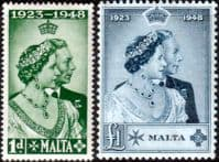 Malta 1948 King George VI Royal Silver Wedding Set Fine Mint