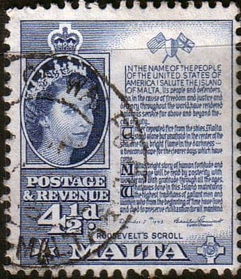 Malta 1956 SG 273 Roservelts Scroll Fine Used