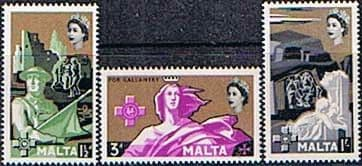 Postage Stamps Malta 1959 George Cross Set Fine Mint