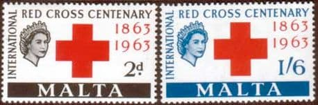 Postage Stamps Malta 1963 Red Cross Centenary Fine Mint