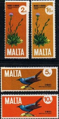 Malta 1971 Plants and Birds Set Fine Mint