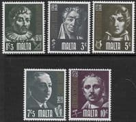 Malta 1974 Prominent Maltese Set Fine Mint