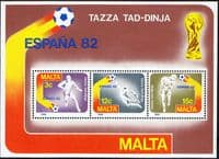 Malta 1982 World Cup Football Miniature Sheet Fine Mint