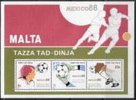 Malta 1986 World Cup Football Championship Mexico Miniature Sheet  Fine Mint