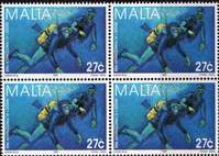 Malta 1998 International Year of the Ocean SG 1080 Fine Mint Block of 4