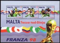 Malta 1998 World Cup Football Championship Miniature Sheet Fine Mint