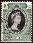 Malta Queen Elizabeth II 1953 Coronation Fine Used