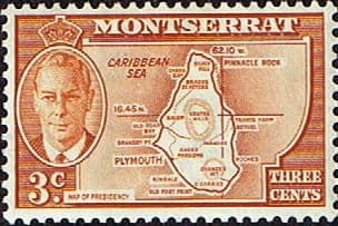 Stamps Stamp Montserrat 1951 King George VI SG 125 Fine Mint Scott 116