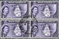 Montserrat 1953 Queen Elizabeth II SG 136a Map of the Island Fine Used Block of 4x