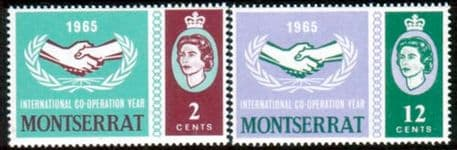 Postage Stamps of Montserrat 1965 International Co-operation Year Set Fine Mint