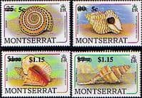 Montserrat 1991 Surcharged Shells Set Fine Mint