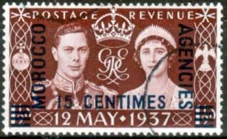 Morocco Agencies 1937 King George VI Coronation French Currency Fine Used