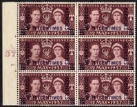 Morocco Agencies 1937 King George VI Coronation Spanish Currency Plate Block of 6 Fine Mint
