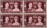Morocco Agencies 1937 King George VI Coronation Tangier Fine Mint Block of 4