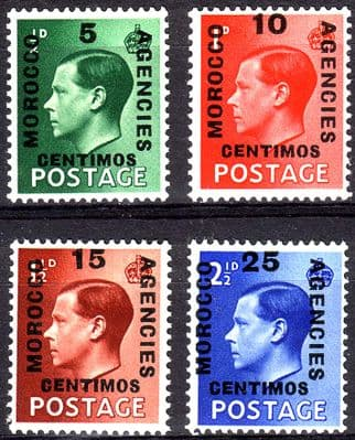 Stamps Morocco Agencies Spanish Currency 1936 Edward VIII Set Fine Mint