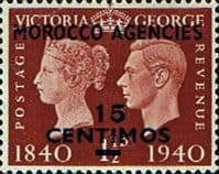 Morocco Agencies Spanish Currency 1940 Stamp Centenery SG 174 Fine Mint