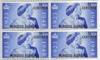 Morocco Agencies Spanish Currency 1948 Royal Silver Wedding SG 176 Fine Mint Block of 4