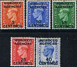 Stamp Stamps Morocco Agencies Spanish Currency 1951 King George VI Set Fine Mint
