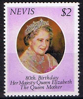 Postage stamps of Nevis 1980 Mothers 80th Birthday Fine Mint