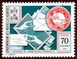 Stamp Stamps New Hebrides 1974 Universal Postal Union French Fine Mint SG F219a Scott 212