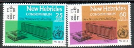 Stamps of New Hebrides British 1966 World Health Organisation Set Fine Mint