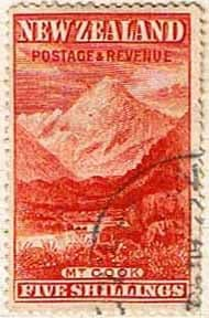 New Zealand 1898 SG 259 Mount Cook Fine Used