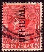 New Zealand 1927 King George V Admiral Official SG O111 Fine Used