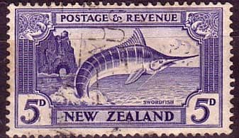 New Zealand 1936 SG 584 Stripped Marlin Fish Fine Used
