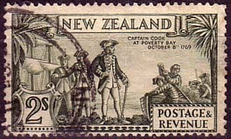 New Zealand 1936 SG 589d Captain Cook at Poverty Bay Fine Used