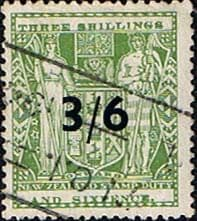 New Zealand 1940 Arms Postal Fiscal SG F212 Surcharged Fine Used