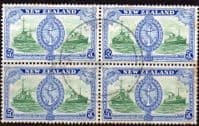 New Zealand 1946 King George VI Victory SG 673 Block of 4 Fine Used