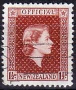New Zealand 1954 Queen Elizabeth Official SG O160 Fine Used