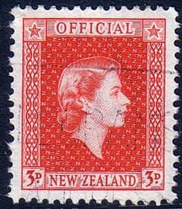 New Zealand 1954 Queen Elizabeth Official SG O163 Fine Used