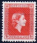 New Zealand 1954 Queen Elizabeth Official SG O163a Fine Used