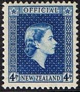 New Zealand 1954 Queen Elizabeth Official SG O164 Fine Mint