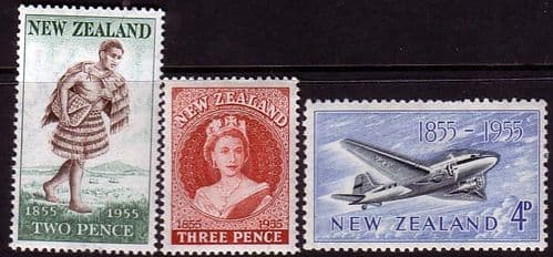 New Zealand 1955 Centenary of the Postage Stamp Set Fine Mint