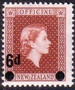 New Zealand 1959 Queen Elizabeth Official SG O168 Fine Mint