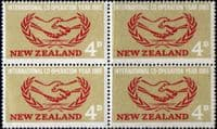 New Zealand 1965 International Co-operation Year Fine Mint Block of 4