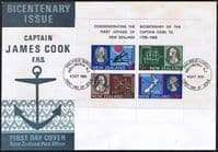 New Zealand 1969 Cook Mini Sheet First Day of Issue Cover