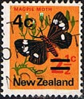 New Zealand 1971 SG 957 4c Surcharged Butterfly Fine Used