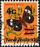 New Zealand 1971 SG 957b 4c Surcharged Butterfly Fine Used