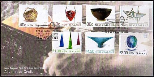 New Zealand 2002 Artistic Crafts Joint Issue with Sweden Set on First Day of Issue Cover