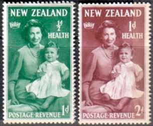 New Zealand Health 1950 Queen and Prince Set Fine Mint