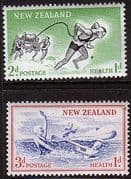New Zealand Health 1957 At The Seaside Set Fine Mint