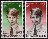 New Zealand Health 1973 Prince Edward Set Fine Mint