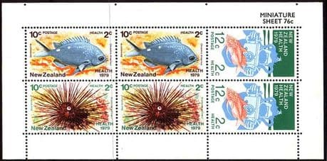 New Zealand Health 1979 Marine Life Minature Sheet Fine Used