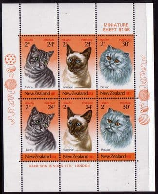 New Zealand Health Stamps 1983 Cats