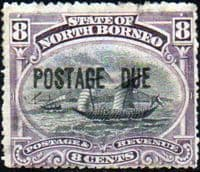 North Borneo 1895 Post Due SG D7 Good Mint